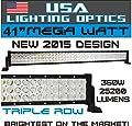 No.1 41 inch TRI-ROW MEGA WATT 360W LED Light Bar by USA Lighting Optics TM 25,200 LUMENS Spot flood combo beam Offroad Trucks 4x4 radius fog JEEP Trucks UTV SUV 4x4 Polaris Razor 1000 Tractor Raptor