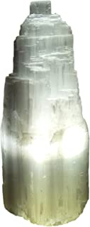AMOYSTONE Natural Selenite Crystal Lamp White Gemstones Skyscraper Hand Carved Lamp Around 7-8
