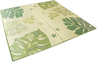 さわやかない草の香りただようリーフ柄「モンステラ」191x191cmグリーン色 【床にやさしい裏貼】