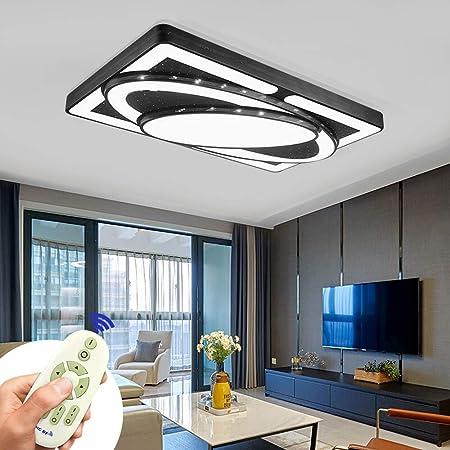 Plafonnier LED Lampe de Plafond 78W Lampe de salon Plafonniers modernes Cuisine Salle de bains Hall d'entrée Chambre à coucher (Noir, 78W dimmable)