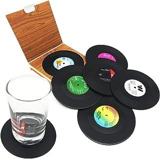 Posavasos de vinilo con diseño retro de CD para café, bebidas, posavasos antideslizantes