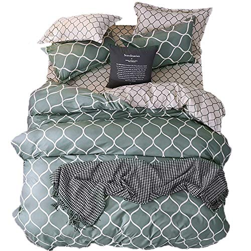 Zoey's Store Duvet Cover Plus Size Green-Grey Pattern with Zipper Closure + Pillowcases - Ultra Soft Microfiber Quilt Cover Set (Double_(200 x 200 cm))