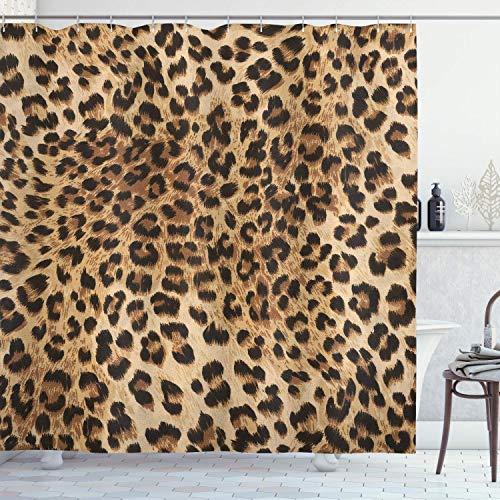 Alvaradod Duschvorhang mit Leopardenmuster,Hautmuster eines Wilden Safari-Tieres Kraftvolle Panthera-Großkatze,Stoffdekor Badezimmer-Set mit,braun-beige mit 12 Kunststoffhaken 180x210cm