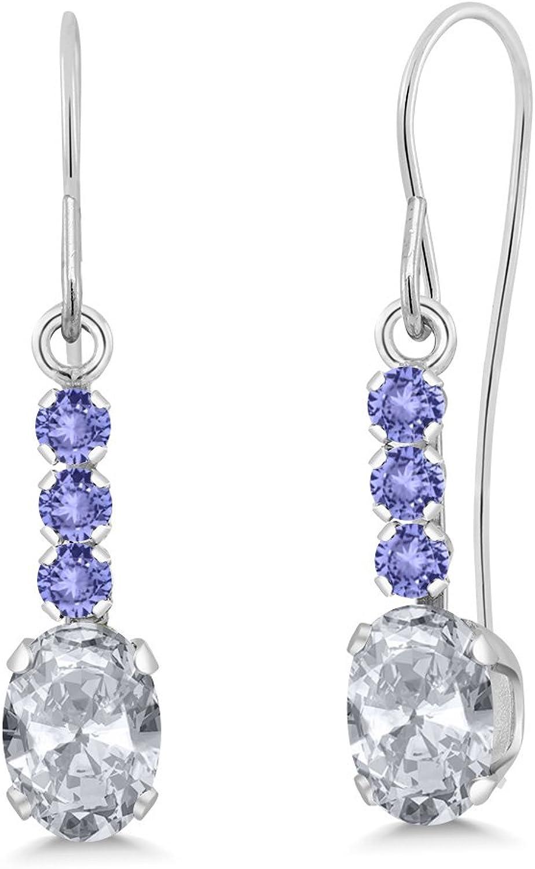 1.34 Ct Oval White Topaz bluee Tanzanite 10K White gold Earrings