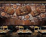 ZZXIAO Gran Mural Retro Nostálgico Wine Wine Bar Ktv Café Fondo Pared Decoración Fotomural sala Pared Pintado Papel tapiz no tejido-350cm×256cm