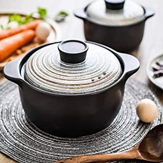 ZZFF Japonés Casserole De Cerámica con Tapa,Mano-Pintado Slow Stew Pot,Calor-Resistente Cazuela,Olla De Sopa,Donabe Hot Pot,Clay Pot,Utensilios De Cocina De Estufa A 2.5l