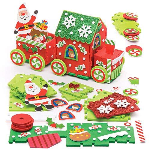 Baker Ross Kit Trenino in Gommapiuma di Babbo Natale (Confezione da 2) per Creazioni e Decorazioni Natalizie per Bambini, Colori Assortiti