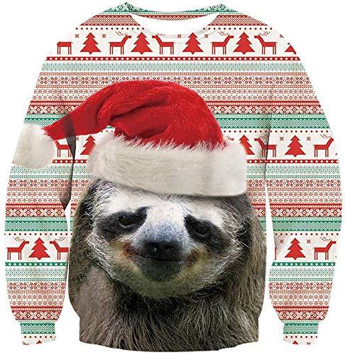 MAOMI Maglioni di Natale Unisex Pullover Grafico 3D Brutto Natale T-Shirt A Maniche Lunghe Girocollo Felpe Divertenti,O-XL