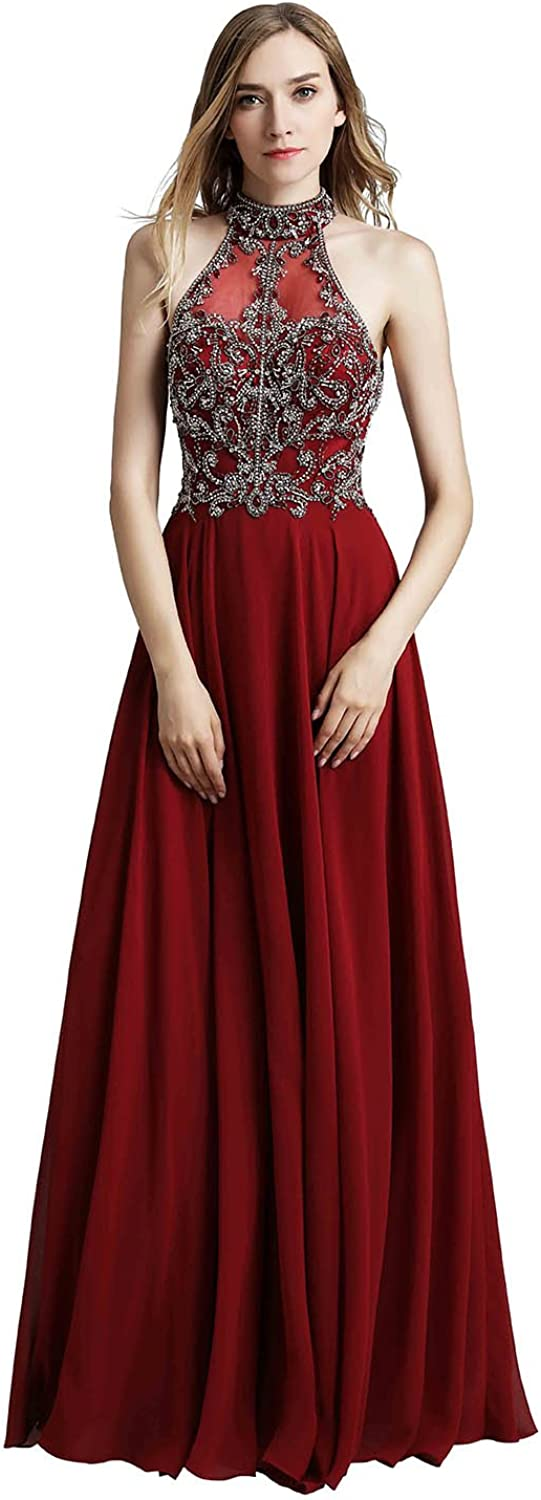 Clearbridal Women's free shipping Chiffon Prom Dresses Long Cheap mail order shopping Even Formal Halter