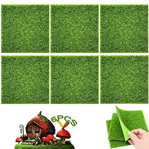 Kunstrasen 6 Stück Kunstrasenteppich Verzierung Moos Künstliche Rasen Gras Dekoration Pflanze Gras Zum Basteln Für Mikro Landschaft Miniatur Dekoration Haus Deko Künstliche Rasen 15 x 15 cm