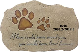 GOLDPersonalized Pet Memorial Stones, Engraved Pet's Name, Date of Birth and Rest, Personalized Pet Headstone Grave Marker for Dog or Cat
