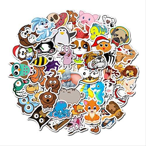 Ecgntr 50 Piezas/Cada Lote de Pegatinas de Animales de Dibujos Animados para niños se utilizan para Juguetes, Maletas, patinetas, teléfonos móviles, computadoras portátiles