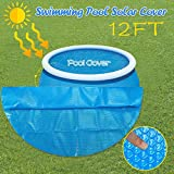 Usuming Solar Cover for 8/10/12/15ft Diameter Easy Set and Frame Pools Round Pool Cover Protector Foot Above Ground Blue Protection Swimming (12ft)
