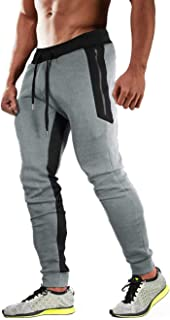 MAGCOMSEN Men's Jogger Pants Tapered Fit Gym Workout Running Sweatpants with 3 Zipper Pockets