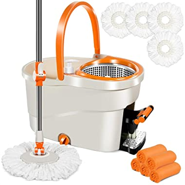 Spin Mop Bucket with Wringer Set by Foot Pedal 3PCS Microfiber Mop Refills and 5 Cleaning Cloths 6L Spin Mop Bucket System for Hardwood Laminate Tile Floors Cleaning