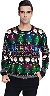 Sponsored Ad – Belovecol Unisex LED Light Up Christmas Jumper Ugly Xmas Sweater Funny Printed Knitted Holiday Pullover for...
