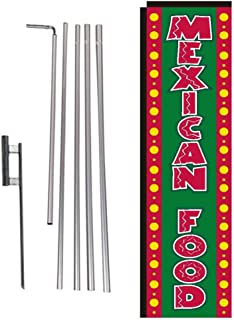 Mexican Food Rectangle Feather Banner Flag Sign with Pole Kit and Ground Spike for Restaurants, Markets, Business Owners