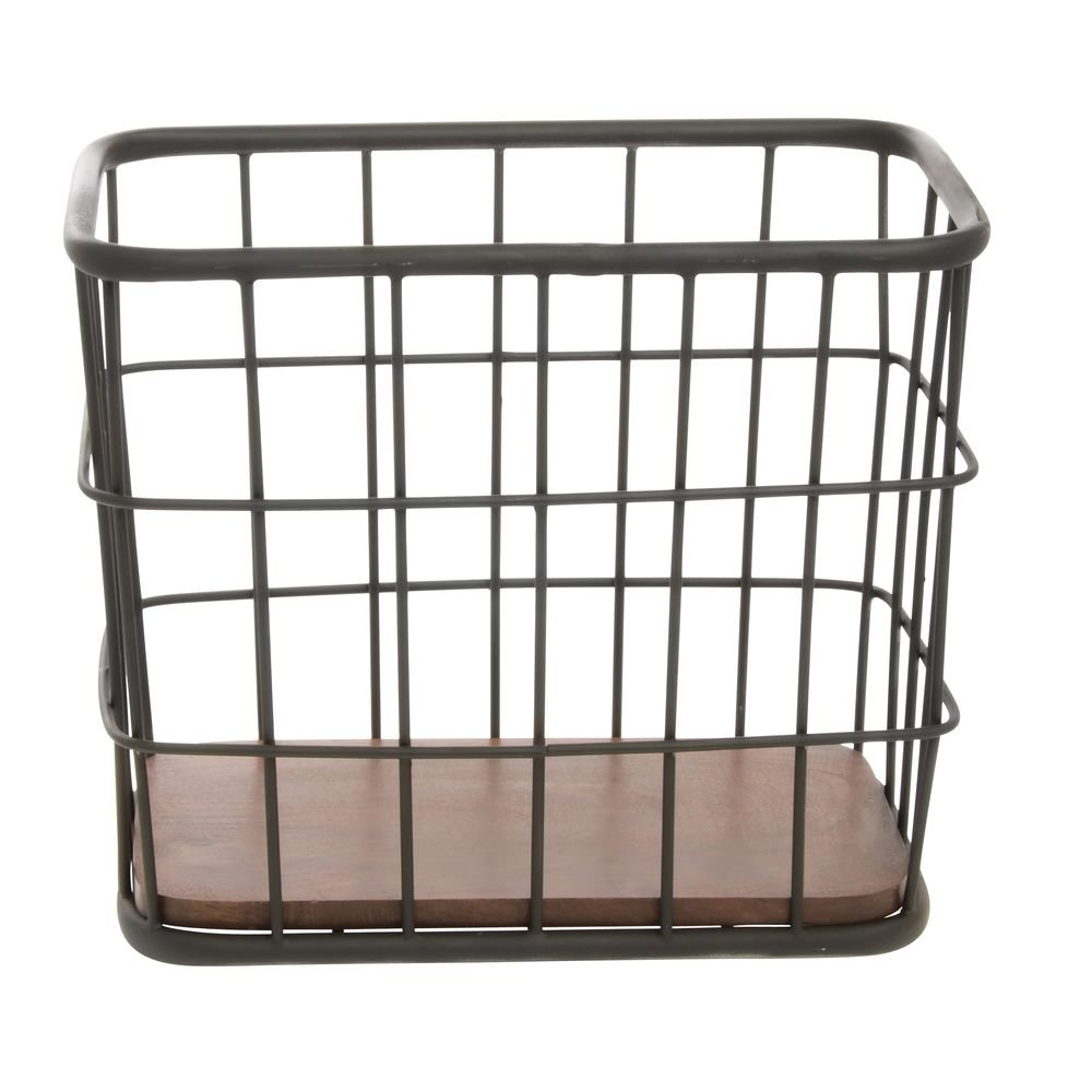 Metal Basket with Wooden free shipping Bottom Black At the price 12