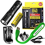 Nitecore R40 1000 lumen CREE LED 520m beam rechargeable flashlight, 2 X charging docks, Nitecore rechargeable 18650 D battery with EdisonBright USB powered reading light