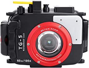 Acouto 195ft/60m Underwater Waterproof Housing Case-Multiple Function Buttons Accesories Kit,Fit for Olympus TG4/TG5(TG5)
