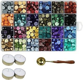 Aiboria Lot de 600 perles de cire à cacheter vintage multicolore avec bougies chauffe-plat et cuillère à cacheter pour sce...