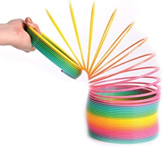 Kicko Plastic Spring - 9.4 Inch Jumbo Coil - Giant Coil Spring Stretches over 43 Feet in Rainbow Color for Class Rewards, ...