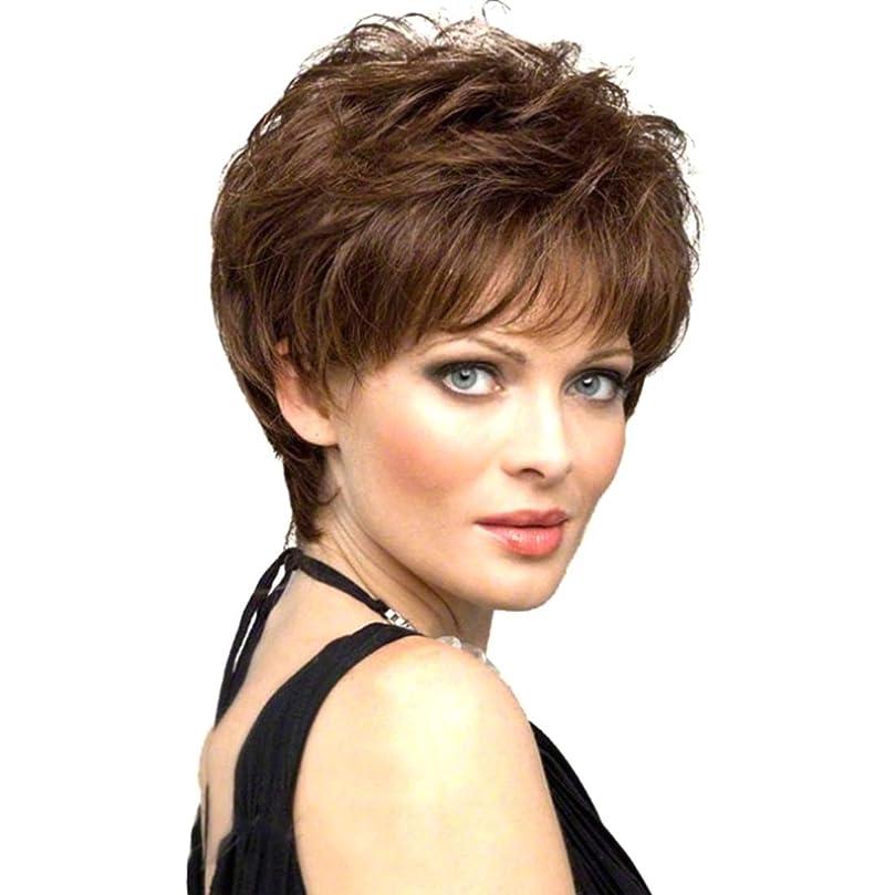 ドリンクラベルアクチュエータSummerys 女性のための短い巻き毛のかつら短い髪のふわふわブロンドの巻き毛のかつら (Color : Navy brown)