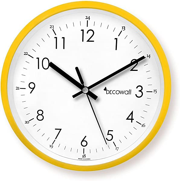 Decowall DSH M22Y 8 8 Non Ticking Silent Modern Pastel Wall Clock DIY For Living Room Bedrooms Office Kitchens Yellow 22 5cm