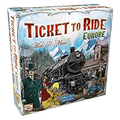 Ticket to Ride Europe Board Game   Family Board Game   Board Game for Adults and Family   Train Game   Ages 8+   For 2 to 5 players   Average Playtime 30-60 minutes   Made by Days of Wonder