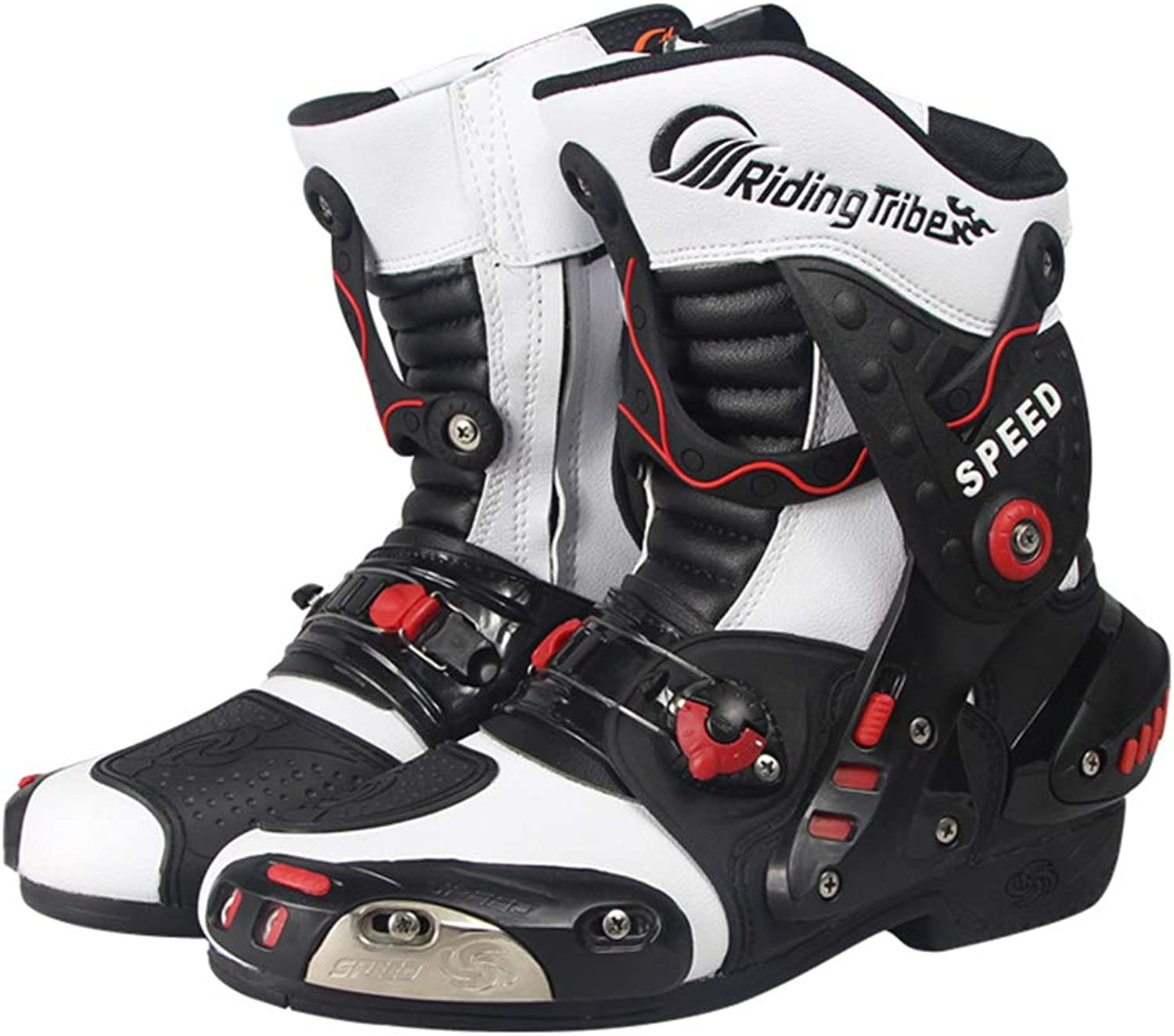 Men's Motorcycle Boots, Motorcycle Racing Boots shoes with Knob Type Elastic Adjustment Device and Adjustable Vent