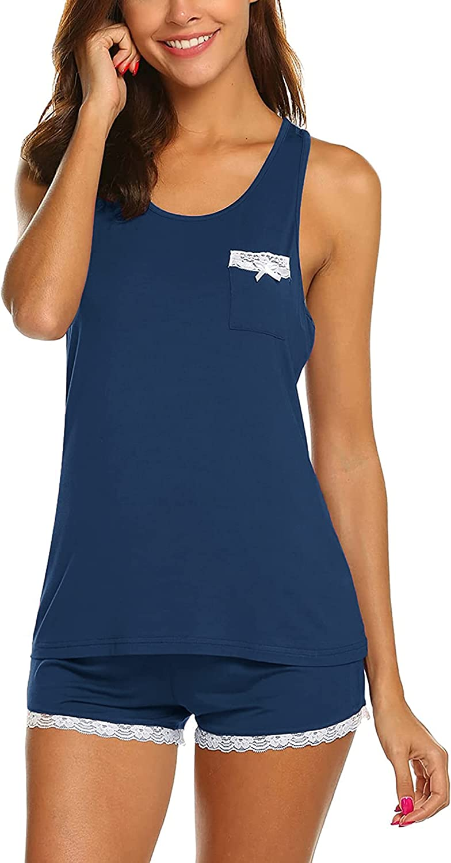 MAXMODA Womens Pajama Sets Sleeveless Tank Top and Shorts Sleepwear Pjs Sets