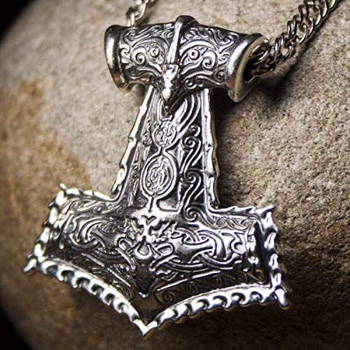 925 Sterling Silver Large Mjolnir Necklace Replica Viking Thors Hammer Pendant Norse Mythology Mens Nordic Gothic Vintage Jewelry for Men/Handmade/Appx 1 oz (28 gr)