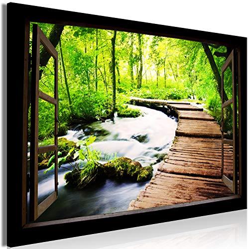 murando - Akustikbild Fensterblick 90x60 cm Bilder Hochleistungsschallabsorber Schallschutz Leinwand Akustikdämmung 1 TLG Wandbild Raumakustik Schalldämmung - Wald grün Landschaft Natur c-C-0389-b-a