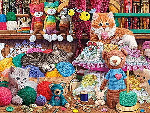 EUFJSDHF 1000 Piece Jigsaw Puzzles Toys Crochet and Kittens for Adult Kids Reduced Pressure Toddler Learning Educational Toys Gift Art Home Wall Hanging-50x75cm
