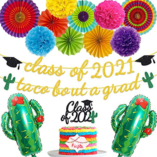 Mexican Graduation Party Decoration Class of 2021 Taco Bout A Grad Fiesta Banner Cake Topper Cactus Balloon Paper Fan Pom Poms Flower Supplies