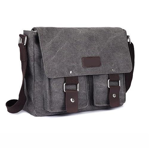 595bf77f87 Mens Retro Canvas Leather Messenger Bag Travel Shoulder Bags Crossbody  Sports Vintage Pack Retro Side Bag