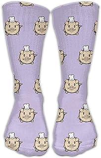 Bigtige, Hombres Mujeres Clásicos Calcetines de equipo Calcetines divertidos lindos de dibujos animados Cara de cerdo púrpura Calcetines deportivos personalizados 50cm de largo-Toda la temporada