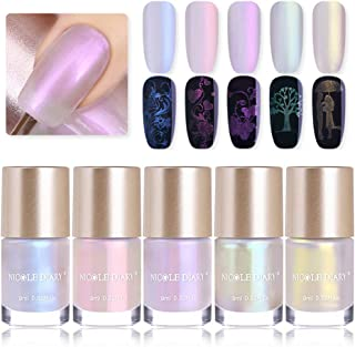 NICOLE DIARY Pearl Nail Polish Pearl Shimmer Stamping Polish Shell Shiny Glitter 2 in 1 Nail Art Polish for DIY Manicure Decoration (5 colors)