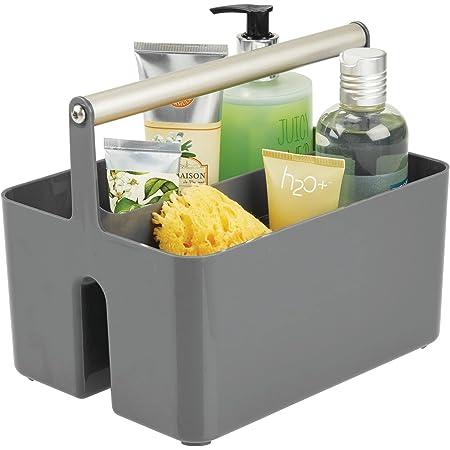 mDesign panier de rangement en plastique et métal pour salle de bain – boite avec poignée pour rangement maquillage – caisse de rangement avec 2 compartiments – gris foncé/argenté mat