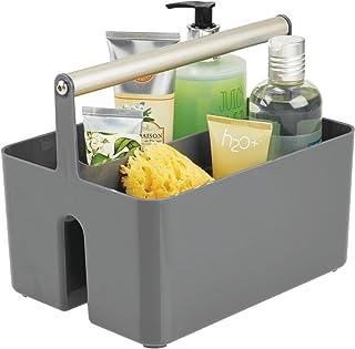 mDesign panier de rangement en plastique et métal pour salle de bain – boite avec poignée pour rangement maquillage – cais...