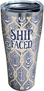 Tervis Ship Faced Stainless Steel Tumbler with Clear and Black Hammer Lid 30oz, Silver
