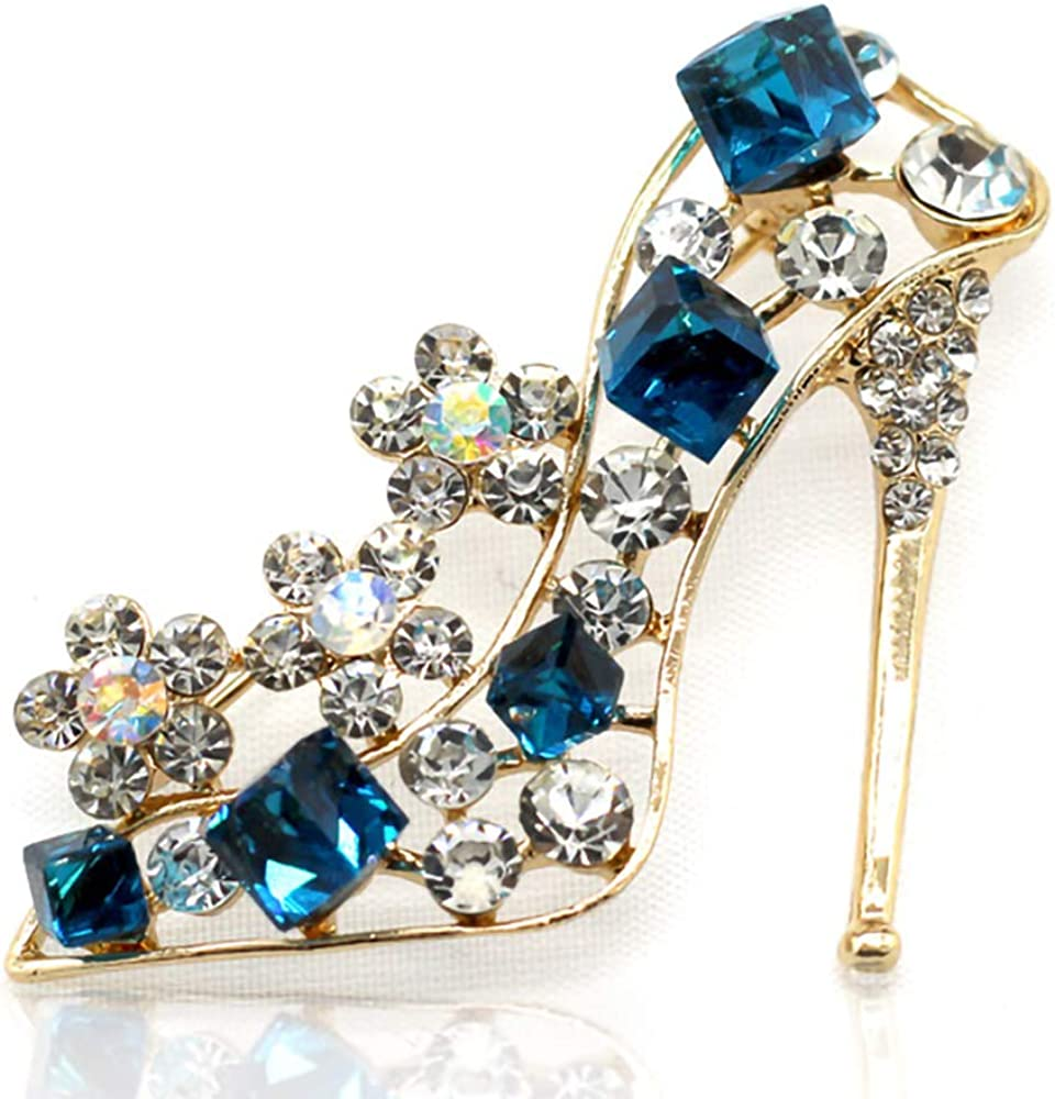 QTKJ Cute Blue Gem Crystal Rhinestones High Heels Shoes Brooch Pins with Small Flower Jewelry Gifts for Women Girls