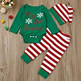 Newborn Infant Baby Girl Boys Christmas Outfits Sets Print Long Sleeve Romper Bodysuit Striped Pants Hat Clothes