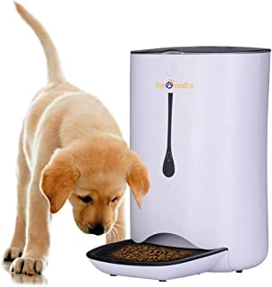 Automatic Pet Feeder Food Dispenser for Cats and Dogs, Programmable Portion Control Meal Scheduling, Voice Control Pet Feeder 4 Meals per Day, Battery & Power Supply Pet Feeder