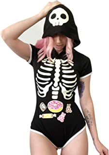 Adult Baby Diaper Lover (ABDL) Button Crotch Onesie – Sweet Reaper Night-Glow Halloween