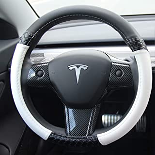 topfit Auto Car Leather Steering Wheel Covers Compatible Tesla Model 3 (Black & White)