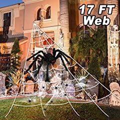 🎃 Halloween Great Value Pack: If you are looking for Halloween outdoor decorations, OZMI 2020 New Upgrade Halloween decorations 6 In 1 giant spider web set is a great option! Each Set Included17ft huge triangular white spider web, a 49in/4.1Ft Giant ...