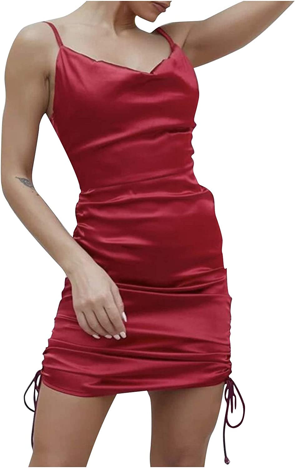 Women's Fashion Sexy Drawstring Solid Color Sleeveless Tight Fit Buttocks Dress