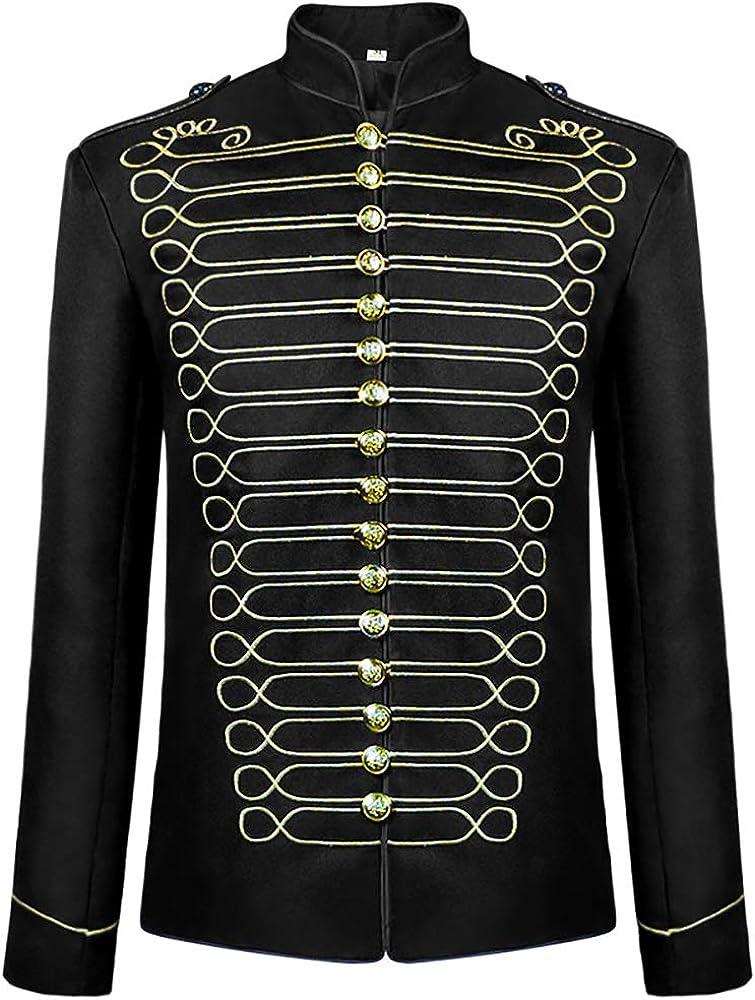 DOKIDOKIICOS Men's Stylish Court Prince Gold Embroidery Blazer Suit Jacket