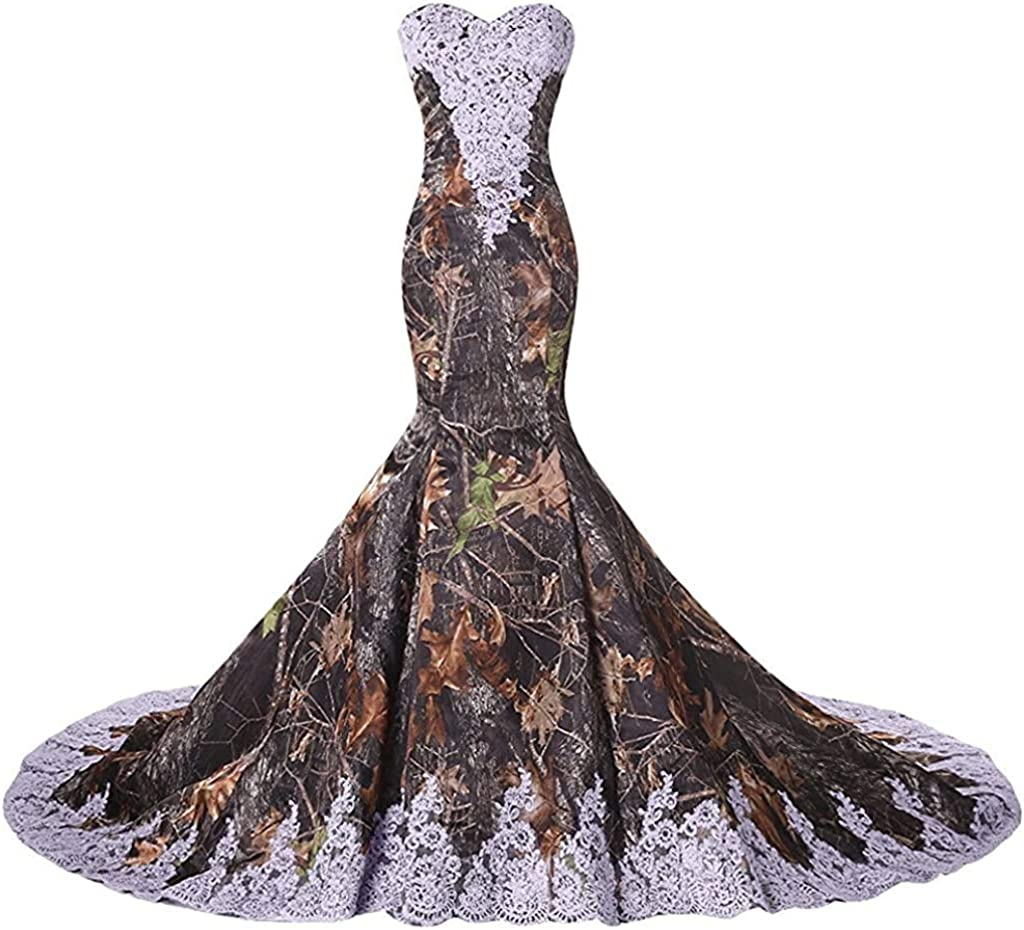ZVOCY Camouflage Lace Mermaid Wedding Dresses for Women Camo Evening Prom Dress Long